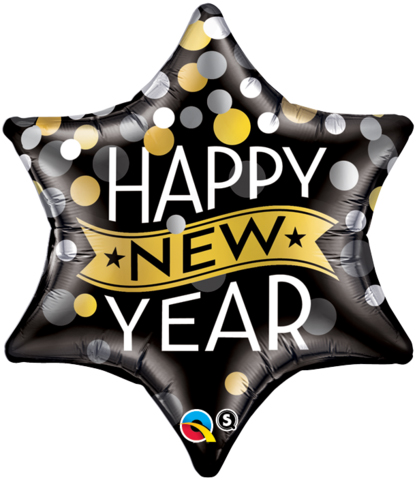FOIL SUPER SHAPE BALLOON - HAPPY NEW YEARS EVE STAR