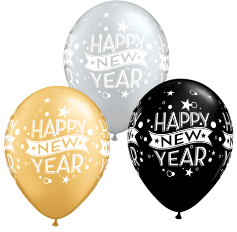 BALLOONS LATEX - NEW YEARS BLACK, GOLD & SILVER CONFETTI PACK 6