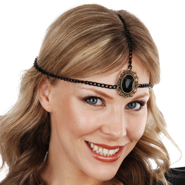 1920'S HEAD CHAIN WITH BLACK JEWEL