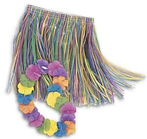 HAWAIIAN HULA SKIRT & LEI - CHILD MULTI COLOURED