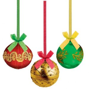 SHIMMER FOILBOARD BAUBLES WITH ORAGANZA RIBBONS- PK 3