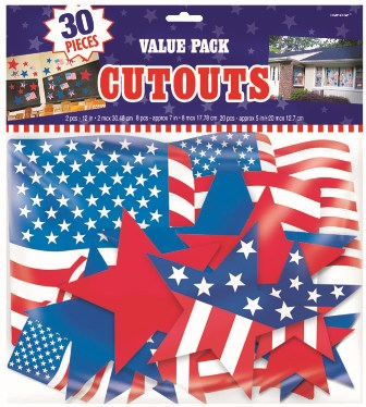 PATRIOTIC CUT OUTS MEGA PACK OF 30 PIECES