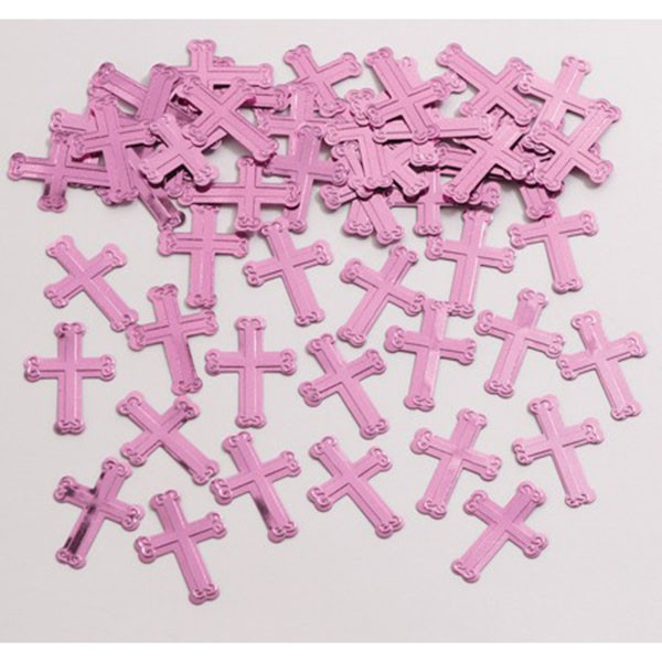 CHRISTENING CROSS  TABLE SCATTERS - PINK