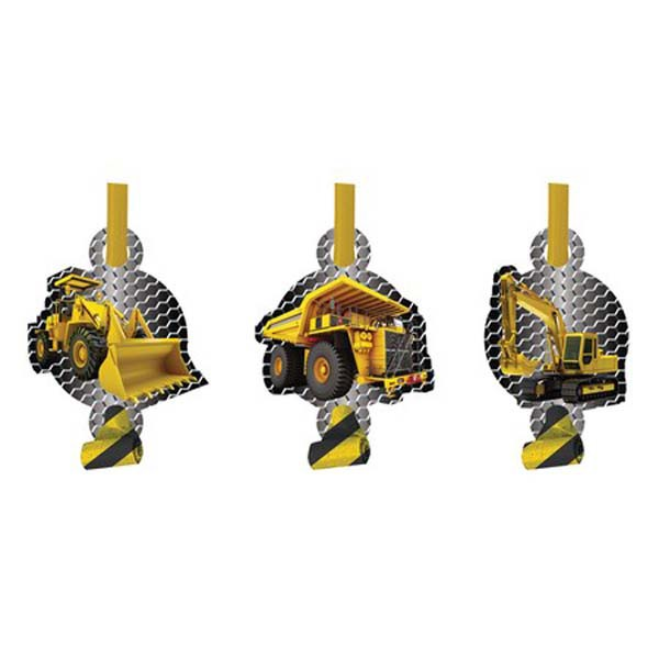 CONSTRUCTION BIRTHDAY ZONE BLOW OUTS - PACK OF 8
