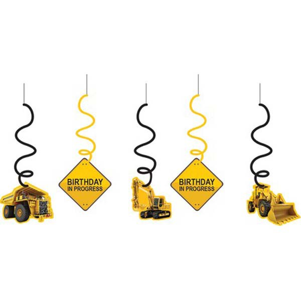 CONSTRUCTION BIRTHDAY ZONE DIZZY DANGLERS - PACK OF 5