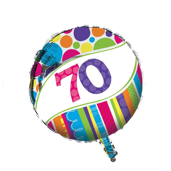 Image of Foil Balloon  70th Birthday Rainbow Bright & Bold