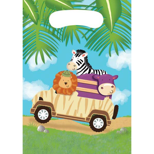JUNGLE SAFARI ADVENTURE LOOT BAGS - PACK OF 8