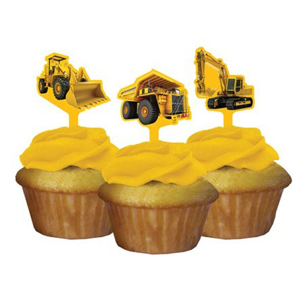 CONSTRUCTION BIRTHDAY ZONE CUPCAKE TOPPERS - PACK OF 12