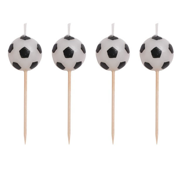 SOCCER BALL PICK CANDLES - PACK 4