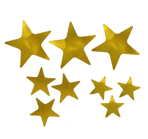 FOIL CARDBOARD CUT OUT STARS HOLOGRAPHIC GOLD - PACK OF 9