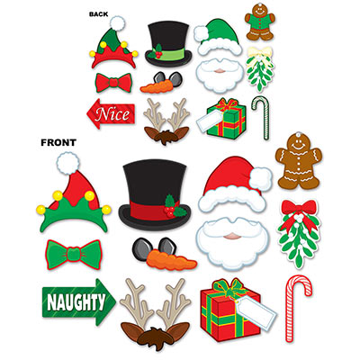 SELFIE PHOTO BOOTH PROPS - CHRISTMAS PACK OF 12