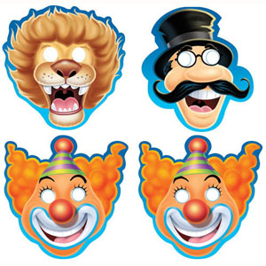 BIG TOP CIRCUS THEMED MASKS - PACK OF 8