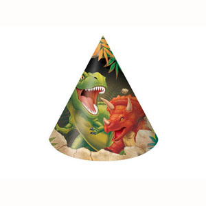 DINO BLAST PARTY HATS PACK OF 8