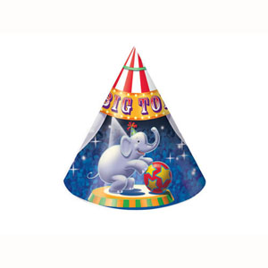 BIG TOP PARTY CONE HATS PACK OF 8