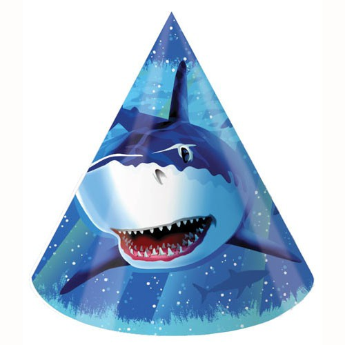 SHARK SPLASH PARTY HATS - PACK OF 8