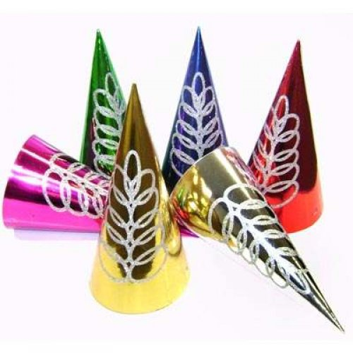 FOIL GLITTER SWIRL CONE PARTY HATS - PACK 6