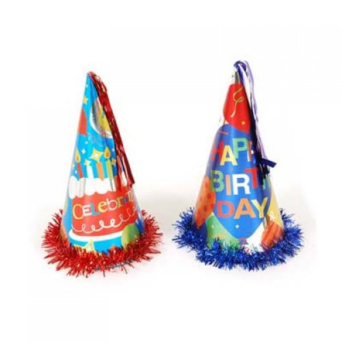 PARTY HAT METALLIC HUGE CONE SHAPE - HAPPY BIRTHDAY PACK OF 2