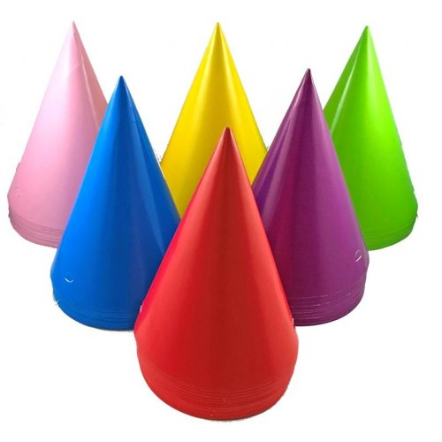 HATS - BULK MULTI COLOURED CONE HATS - PACK OF 50
