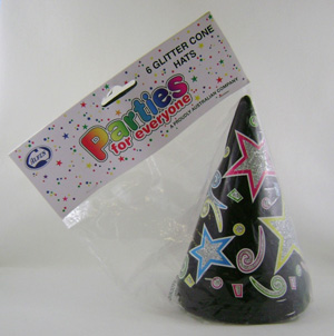 PARTY HATS - BLACK CONE WITH GLITTER - PK 6