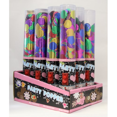 PARTY POPPERS - METALLIC MULTI CONFETTI PRESS BUTTON CANNON X12