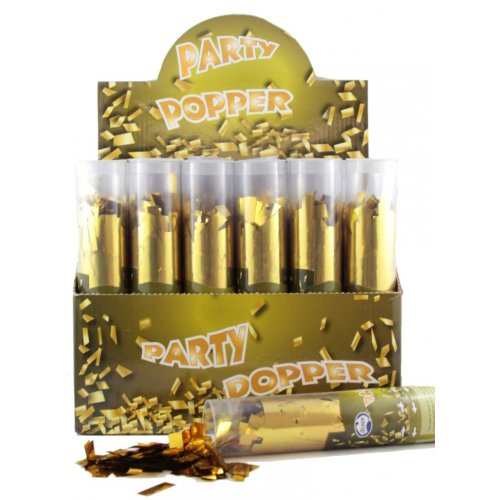 PARTY POPPERS - METALLIC GOLD CONFETTI TWIST POPPER CANNON