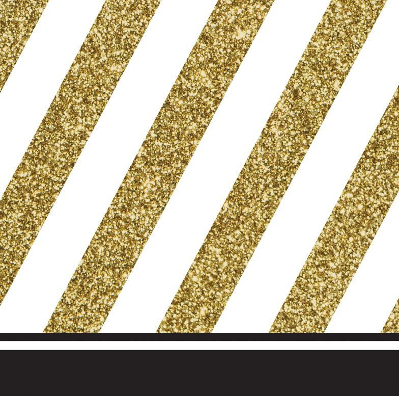 GOLD & BLACK COCKTAIL NAPKINS - PACK OF 16