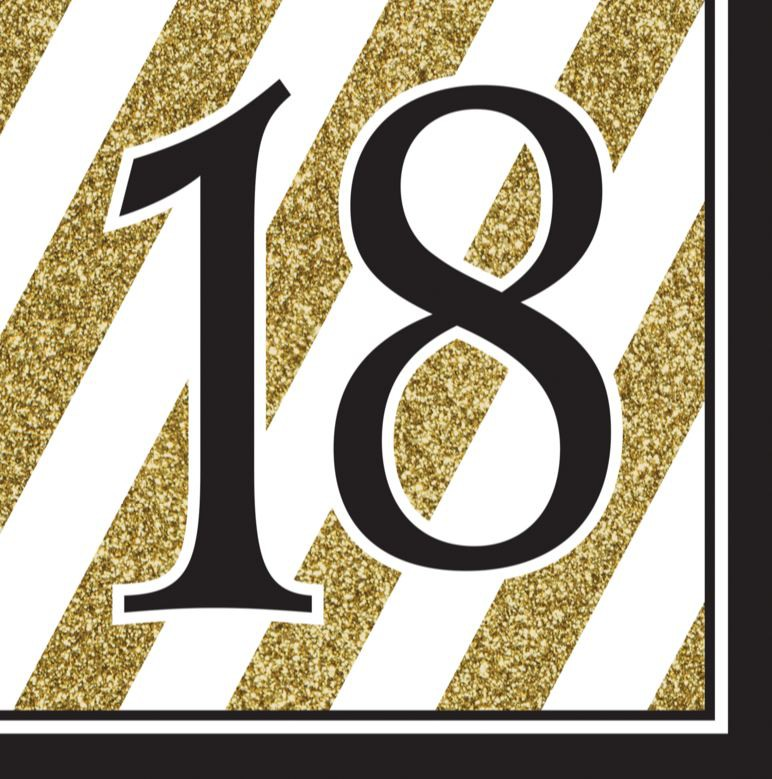 18TH BIRTHDAY GOLD & BLACK NAPKINS - PACK OF 16