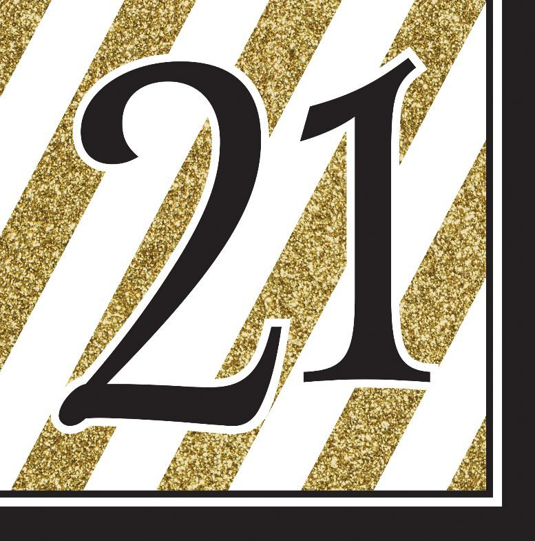 21ST BIRTHDAY GOLD & BLACK NAPKINS - PACK OF 16