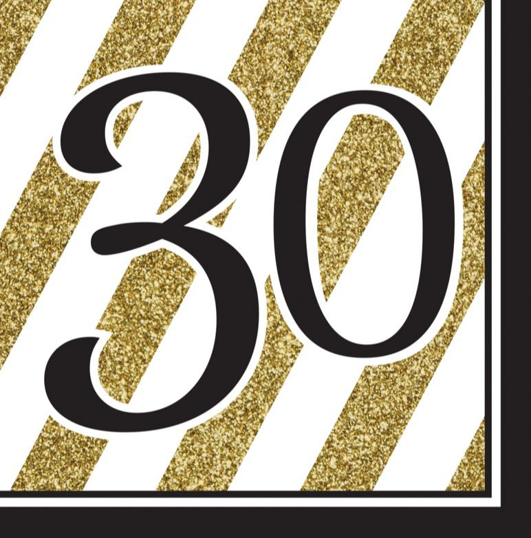 30TH BIRTHDAY GOLD & BLACK NAPKINS - PACK OF 16