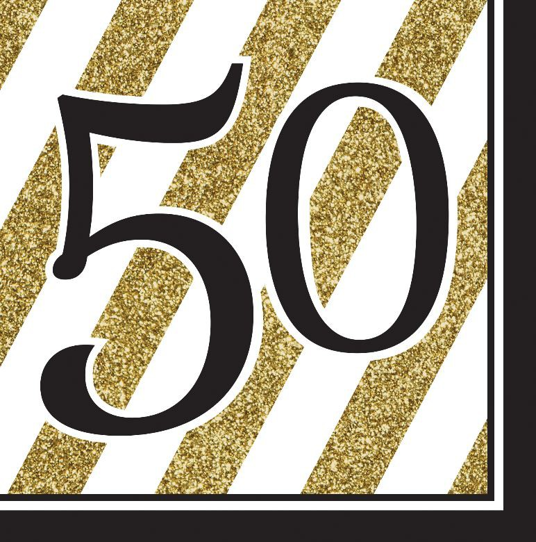 50TH BIRTHDAY GOLD & BLACK STRIPE NAPKINS - PACK OF 16