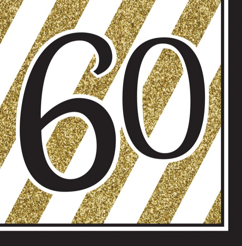 60TH BIRTHDAY GOLD & BLACK NAPKINS - PACK OF 16