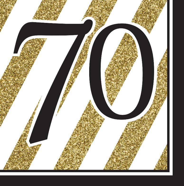 70TH BIRTHDAY GOLD & BLACK NAPKINS - PACK OF 16