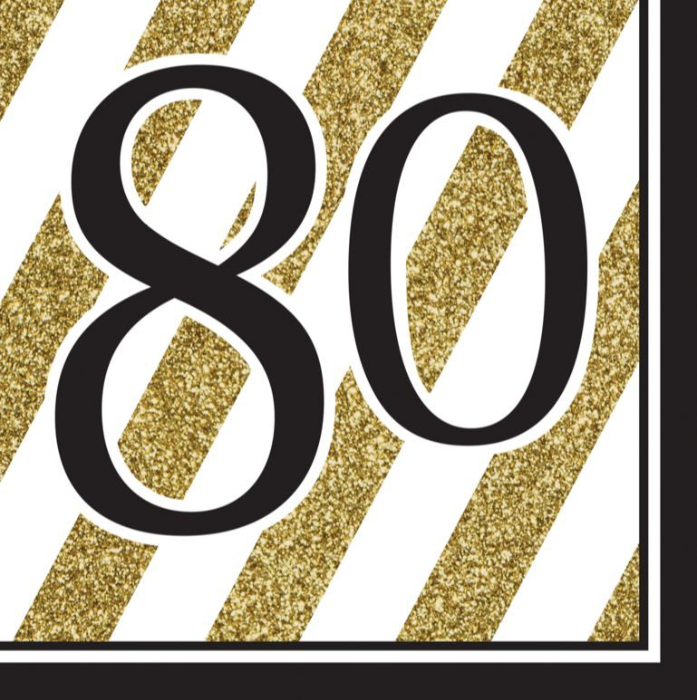 80TH BIRTHDAY GOLD & BLACK NAPKINS - PACK OF 16