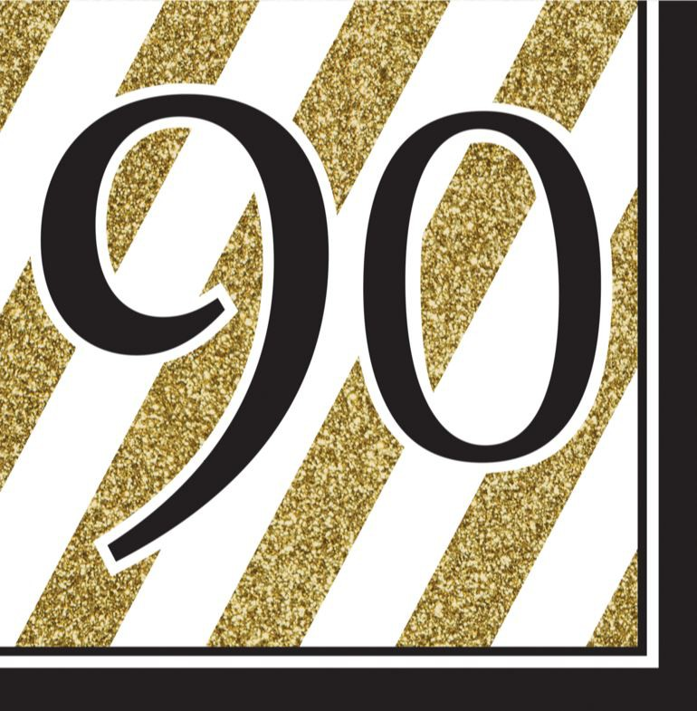 90TH BIRTHDAY GOLD & BLACK NAPKINS - PACK OF 16