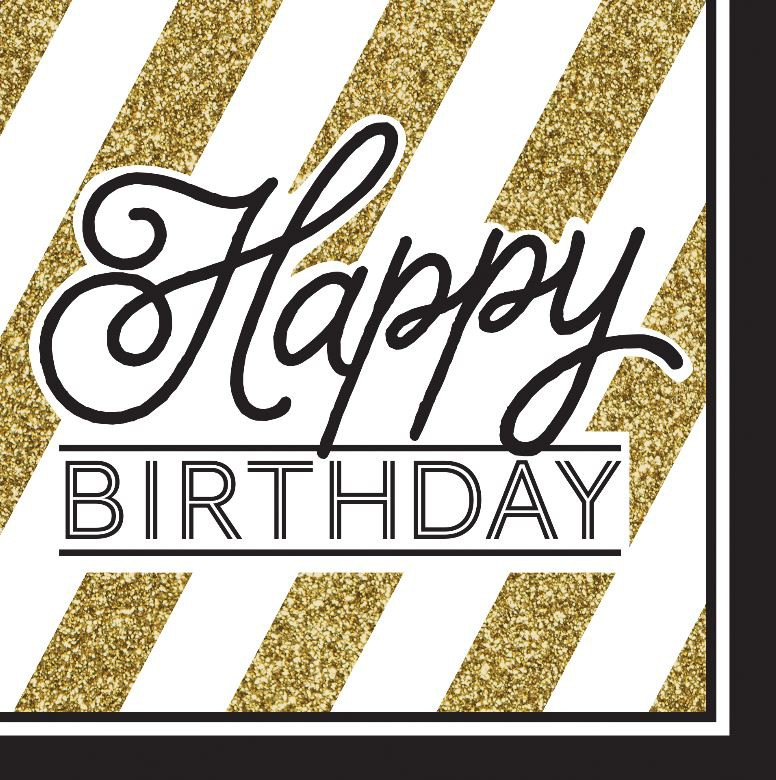 HAPPY BIRTHDAY GOLD & BLACK NAPKINS - PACK OF 16