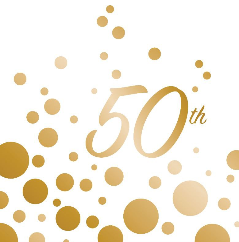 50TH BIRTHDAY/ANNIVERSARY GOLD SPARKLE & SHINE NAPKINS - PACK 16