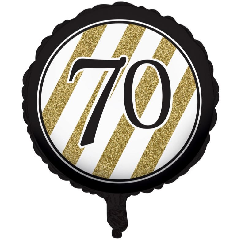 Image of Foil Balloon  70th Birthday Black & Gold