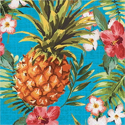 ALOHA PINEAPPLES & FLOWERS SQUARE LUNCHEON PLATES - PACK OF 8