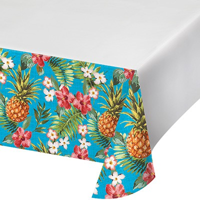 ALOHA PINEAPPLES & FLOWERS TABLECOVER