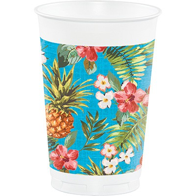 ALOHA PINEAPPLES & FLOWERS PLASTIC CUPS - PACK OF 8