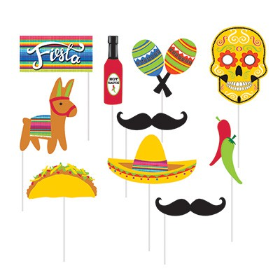 SELFIE PHOTO BOOTH PROPS - MEXICAN SERAPE PACK OF 10