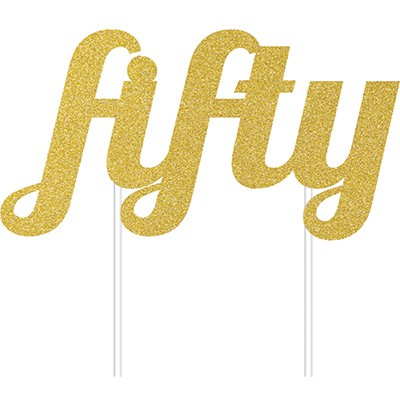 CAKE TOPPER - HAPPY BIRTHDAY 50TH GOLD GLITTER