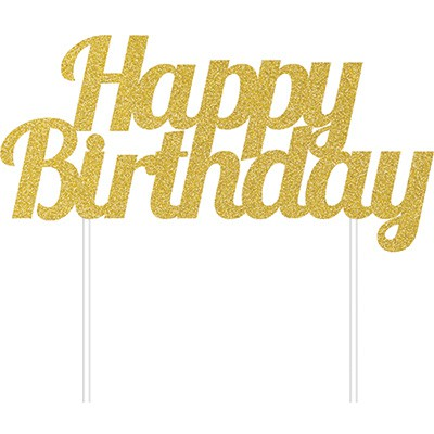 CAKE TOPPER - HAPPY BIRTHDAY GOLD GLITTER
