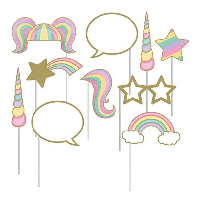 SELFIE PHOTO BOOTH PROPS - UNICORN SPARKLE PACK 10