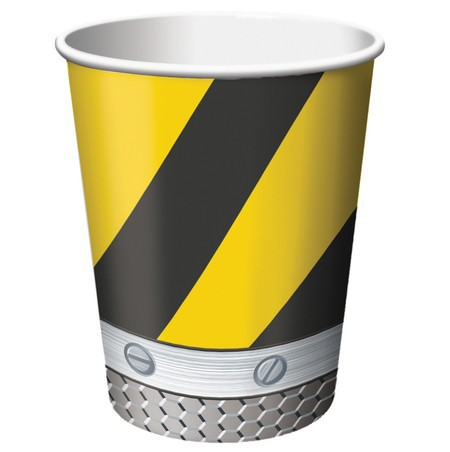 CONSTRUCTION BIRTHDAY ZONE CUPS - PACK OF 8