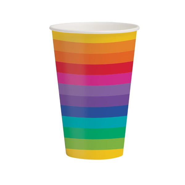 RAINBOW PAPER CUPS - PACK OF 8