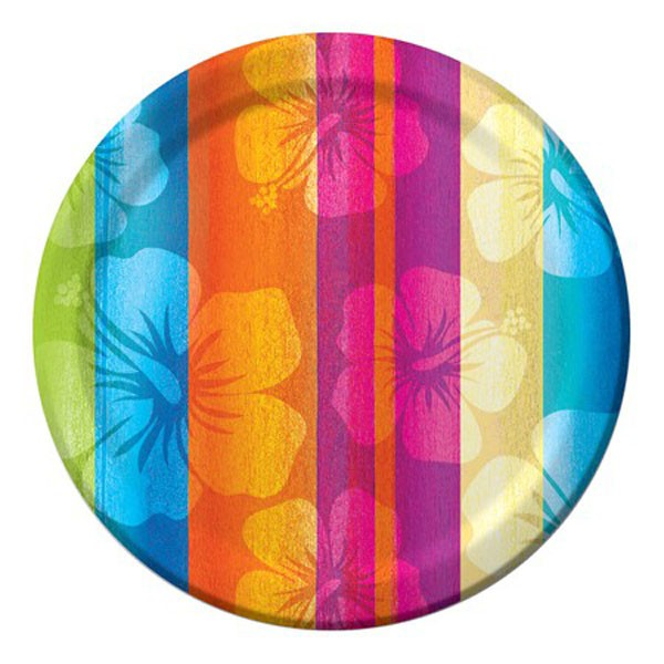 ALOHA SUMMER HIBISCUS FLOWER LUNCH PLATES OF 8
