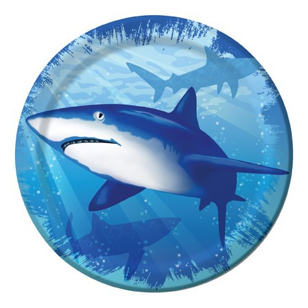SHARK SPLASH LUNCH PLATES - PACK OF 8