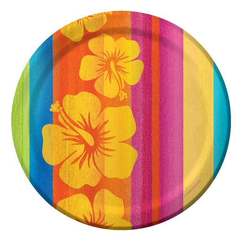 ALOHA SUNSET STRIPES HIBISCUS FLOWER DINNER PLATES PACK OF 8
