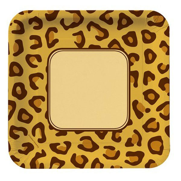 JUNGLE ANIMAL LEOPARD PRINT DINNER PLATES - PACK OF 8